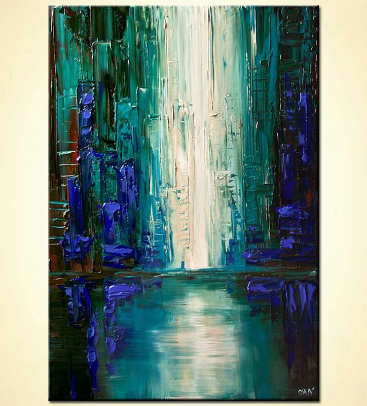 painting for sale teal blue city painting abstract