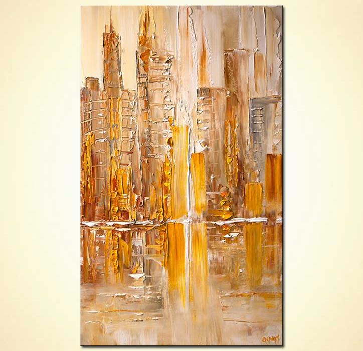Yellow abstract cityscape painting modern fine art