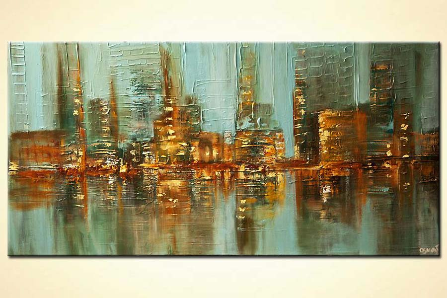 Abstract city lights painting water reflection skyscrapers heavy texture