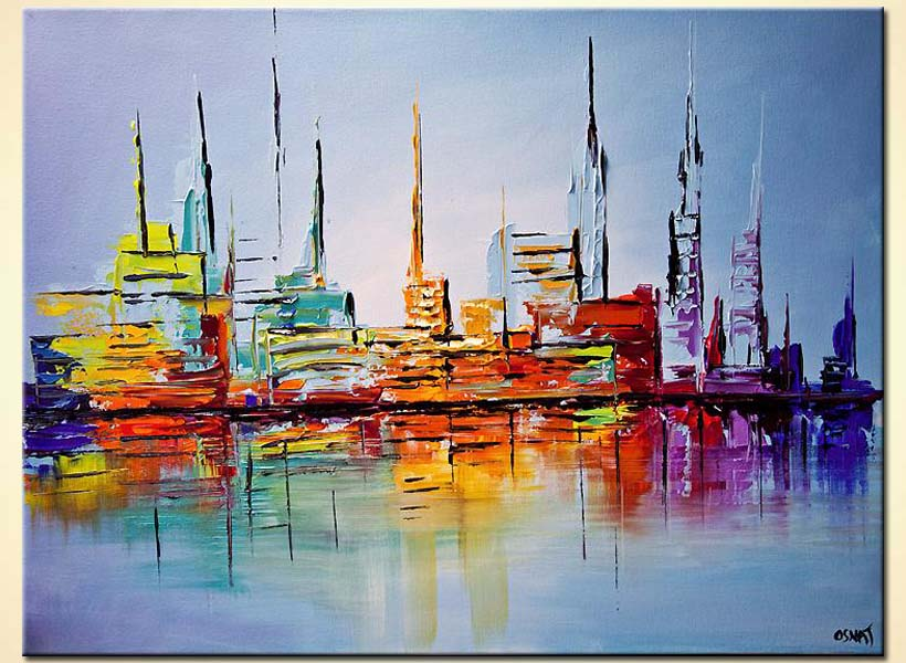 Buy City Lights Painting Modern Abstract Art Palette Knife