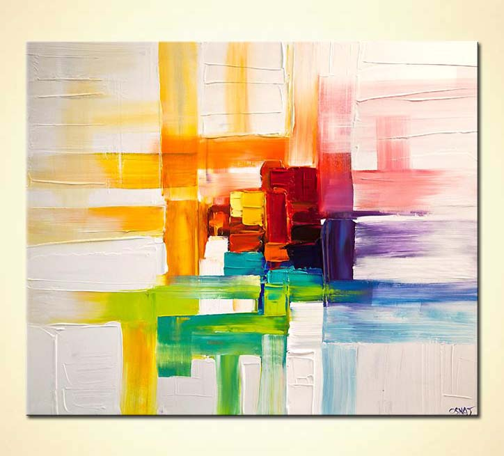 colorful abstract painting modern palette knife