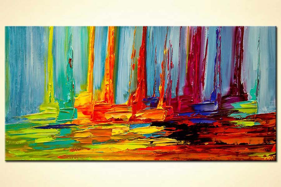 Painting colorful abstract sail boats in sea modern for Modern abstract paintings for sale