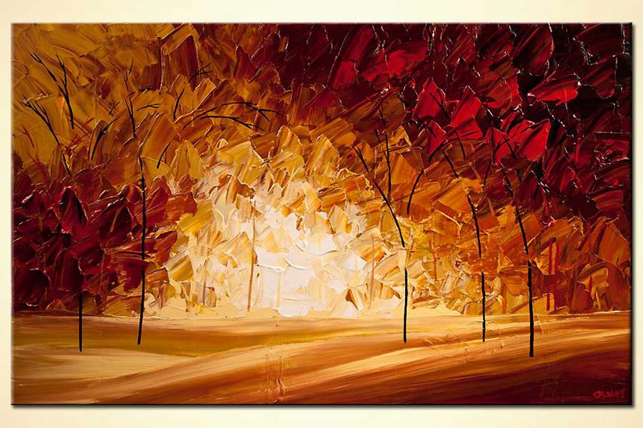 Painting - Indian-summer-blooming-trees-landscape-painting ...