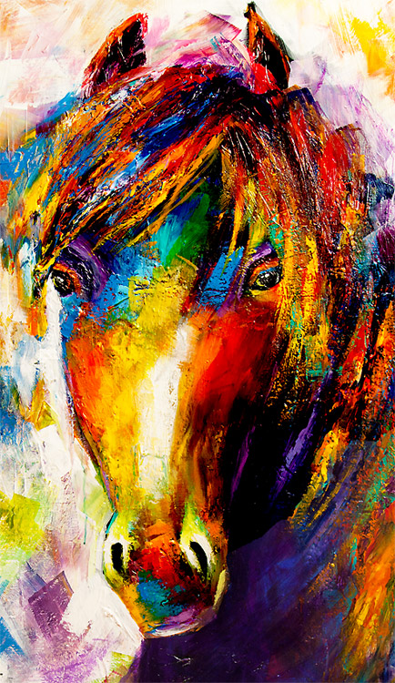 original colorful abstract horse painting white background