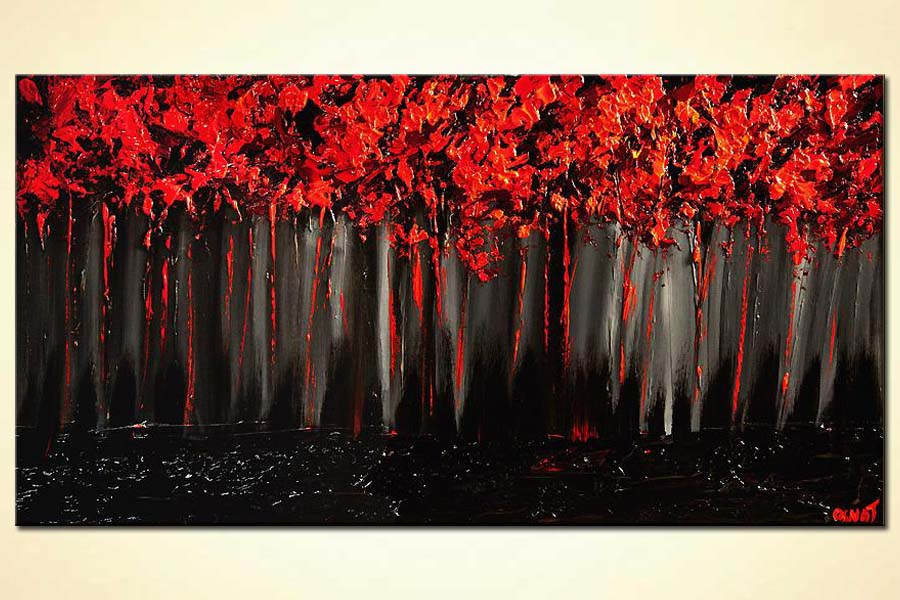 painting red forest on black background blooming trees