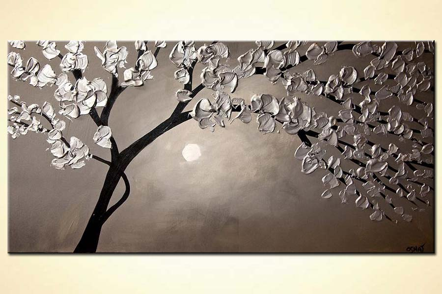 silver blooming tree landscape painting heavy impasto