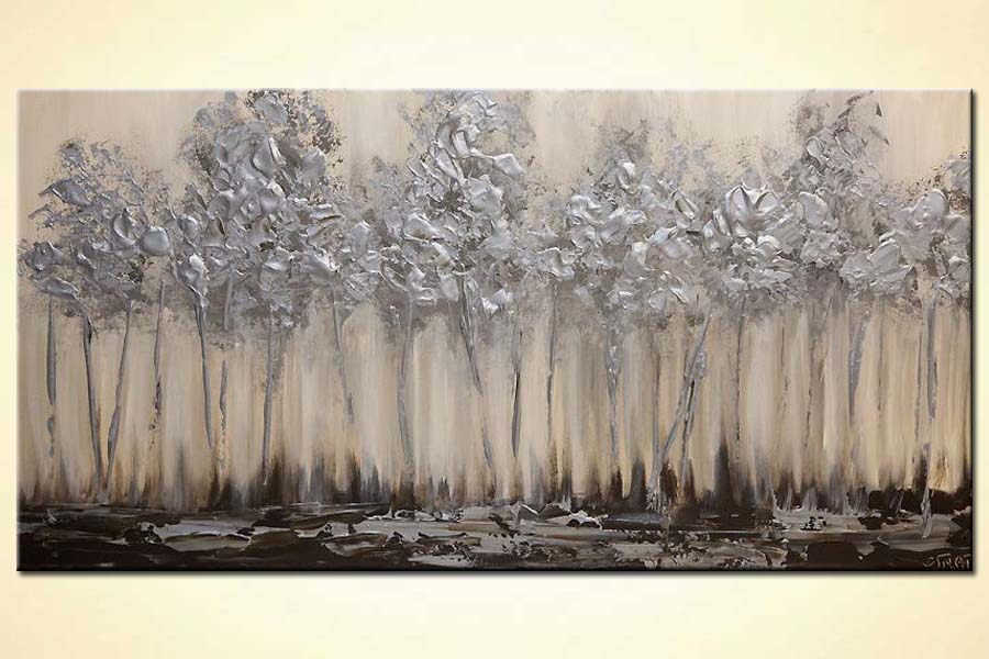 Painting silver blooming trees abstract landscape for Modern artwork for home