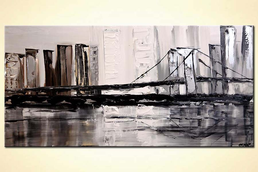 modern city bridge white gray silver city painting palette knife