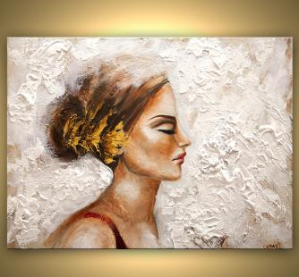 women portrait textured painting