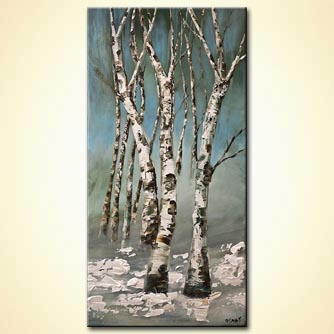 modern abstract art - Birch Trees