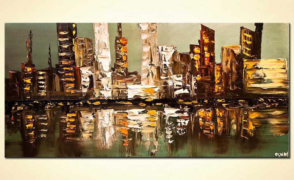 abstract city painting heavy impasto textured palette knife