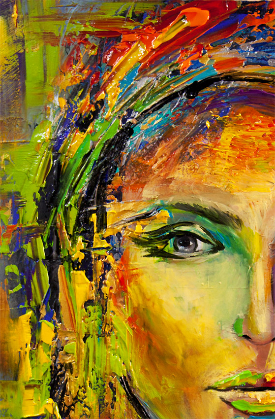 Painting colorful portrait painting modern palette knife for Creative paintings pictures