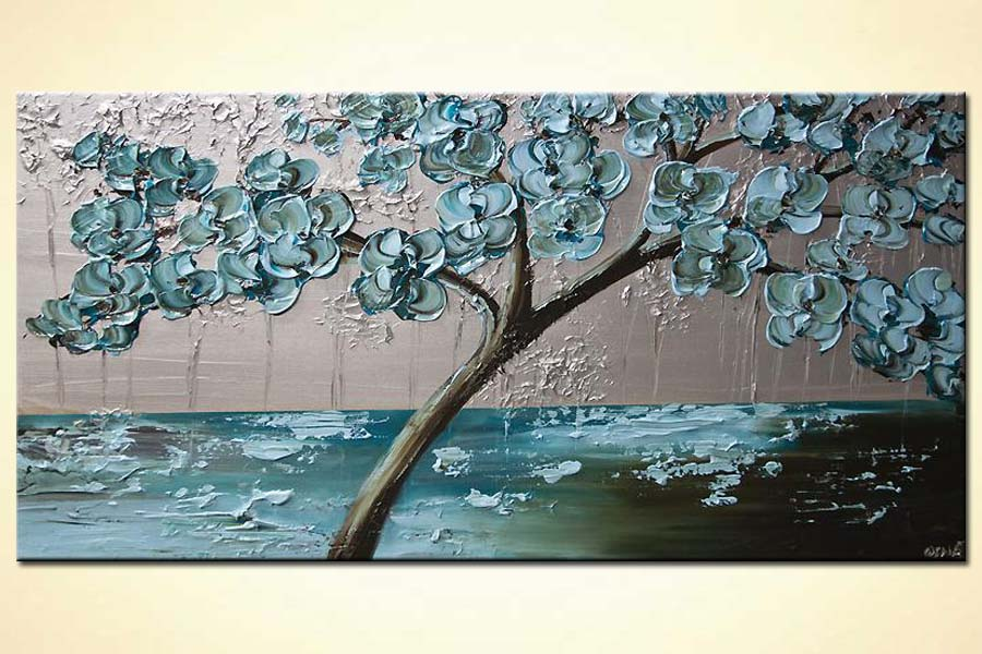 Painting For Sale Flowering Tree Painting Light Blue