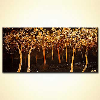 modern abstract art - Golden Leaves