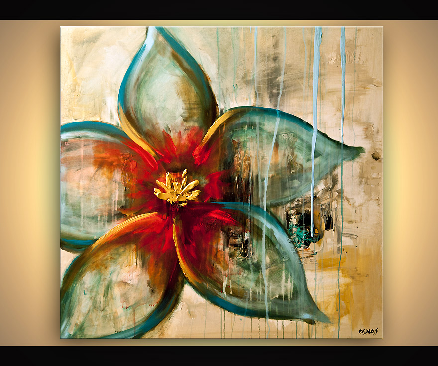 Buy raw abstract flower painting blue rust acrylic for Flower paintings on canvas