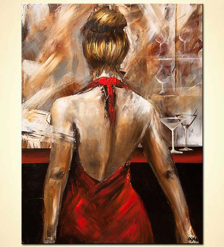Painting For Sale Red Dress Woman Figure Painting Wine