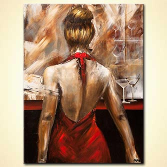 red dress woman figure painting wine glass art
