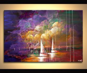 colorful contemporary abstract sail boats painting