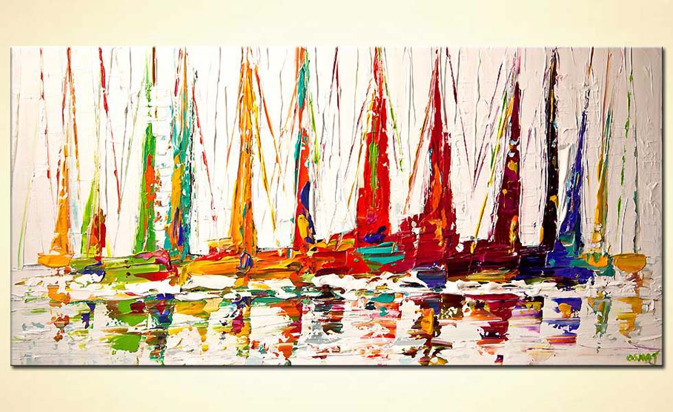 Seascape painting colorful sailboats textured - Tableau contemporain grand format ...