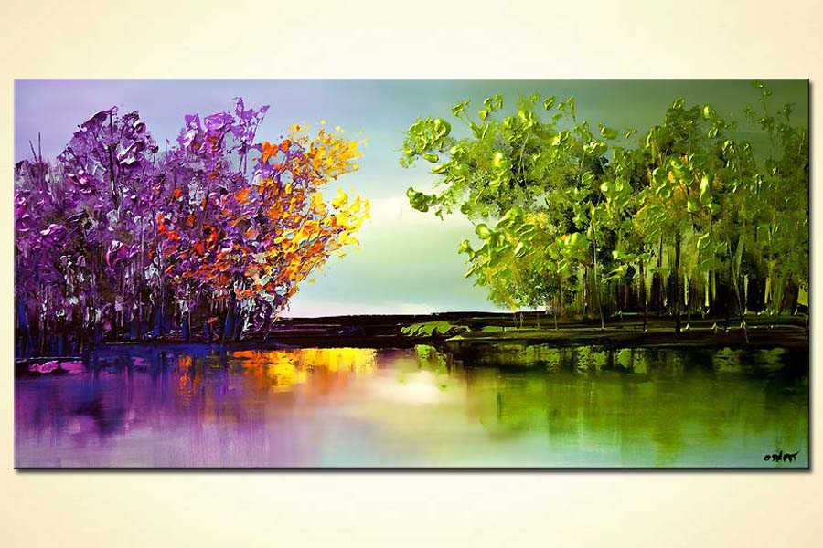 colorful blooming trees painting modern landscape abstract painting