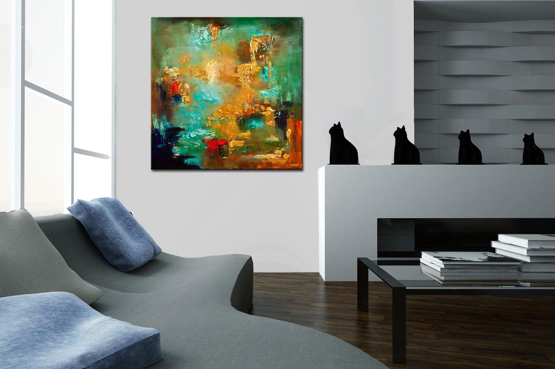 Painting large turquoise gold abstract painting heavy texture