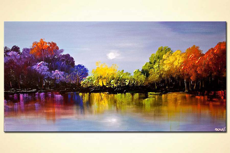 Painting For Sale Modern Colorful Blooming Trees