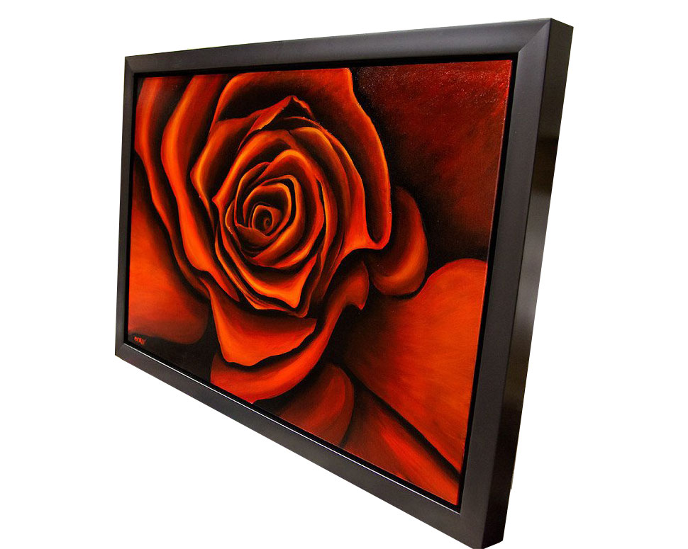 Painting Red Rose Painting Framed Modern Floral Abstract