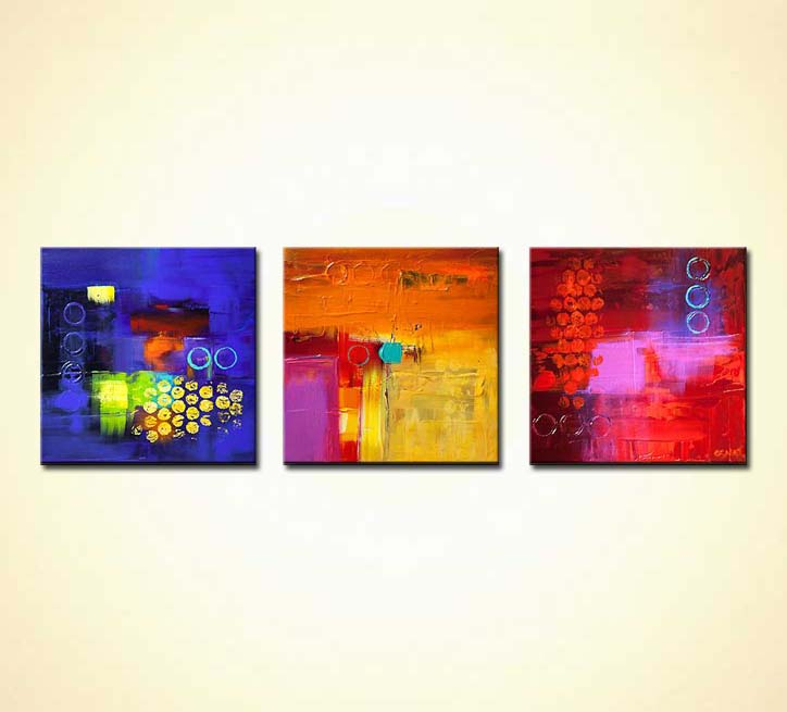 three colorful contemporary abstract paintings