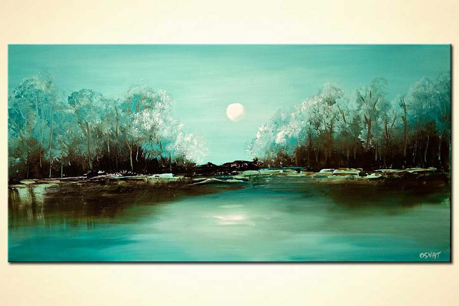 turquoise landscape abstract paiting blooming trees