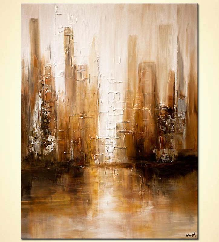 Painting white brown abstract modern city painting for Moderne landschaftsbilder