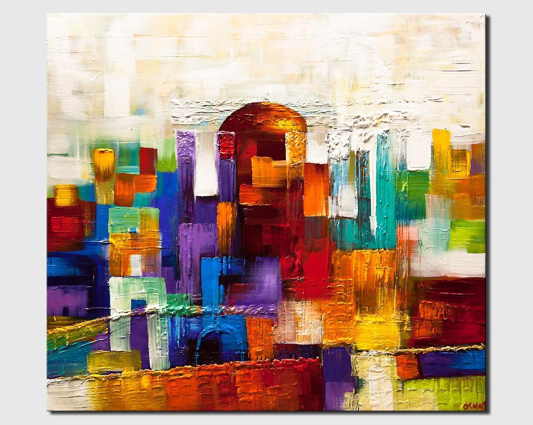 beit hamikdash painting Jerusalem textured gold city painting