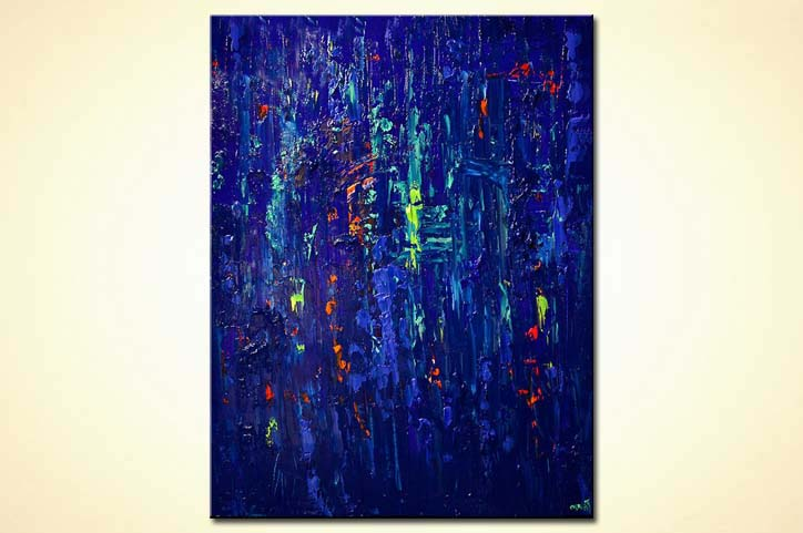 blue textured abstract painting modern palette knife