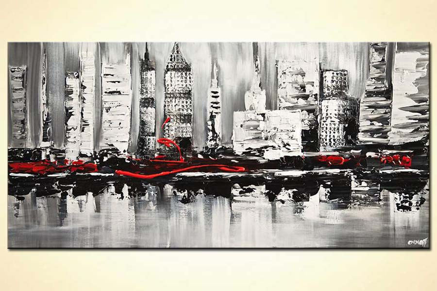 buy abstract city painting textured white black red abstract painting  7502