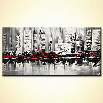 abstract city painting textured white black red abstract painting