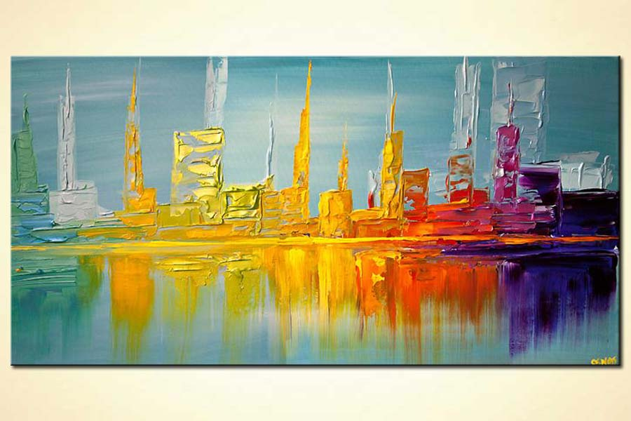 Abstract Line Art Paintings : Painting city shore line abstract modern