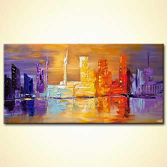 downtown city abstract painting modern palette knife