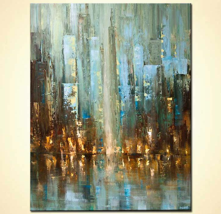 contemporary abstract city painting textured palette knife