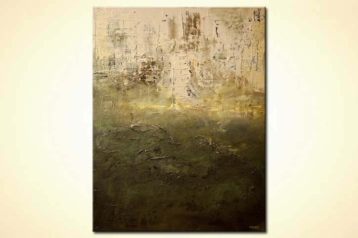 Painting contemporary green textured abstract painting 7613