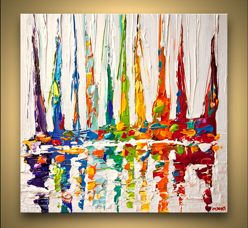 multicolored sail boats painting modern palette knife