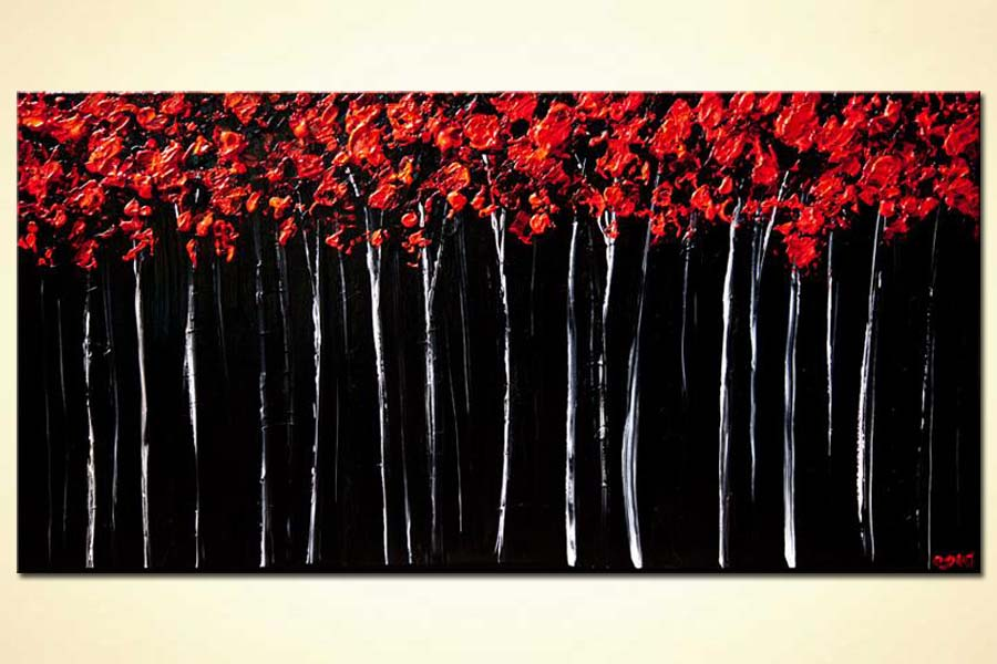 red forest landscape painting textured blooming trees painting