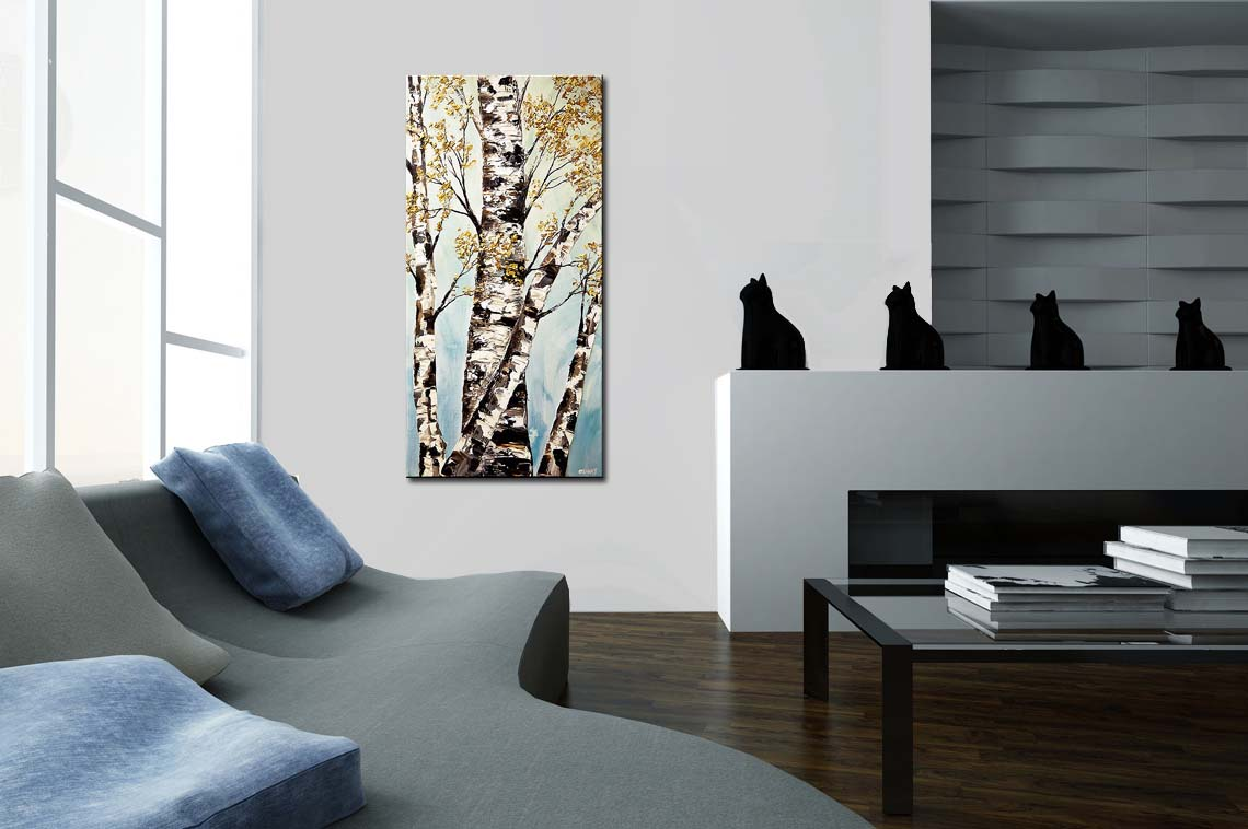 painting silver birch trees painting textured 7465