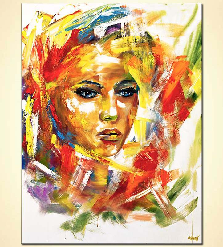 colorful woman portrait painting on white