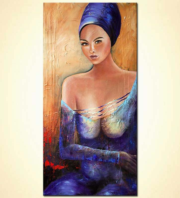 figure painting woman blue purple textured painting