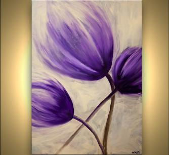 purple tulip flower abstract painting