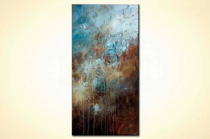 Large Textured Blue Brown Abstract Art