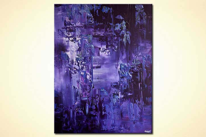 painting purple textured abstract painting 7649
