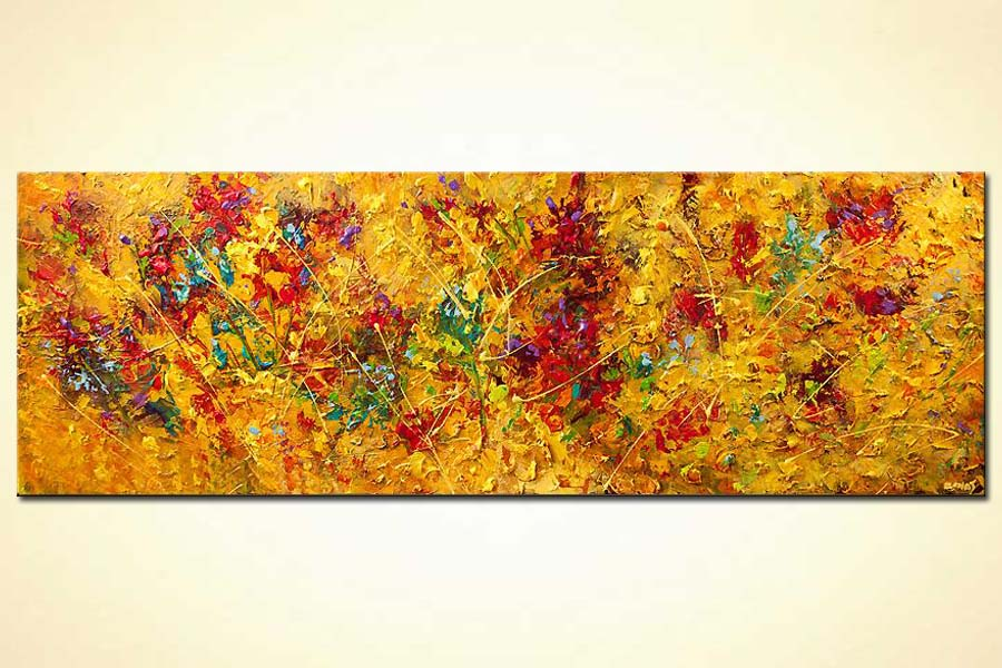 contemporary floral abstract painting modern palette knife