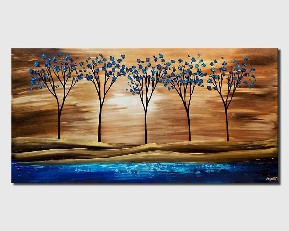 blue brown landscape tree textured print on canvas