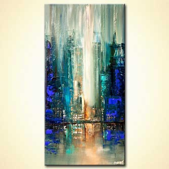 city lights blue abstract painting