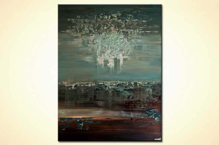 teal brown contemporary abstract painting